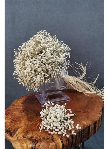 Kuru Çiçek Deposu Gelin Buketi Beyaz Cipsolu 2'Li Set Beyaz
